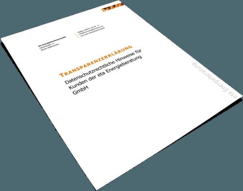 Deckblatt Transparenzerklärung - eta Energieberatung